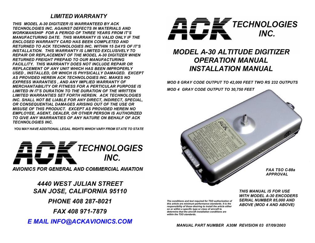 a-30 install operation manual | manualzz com