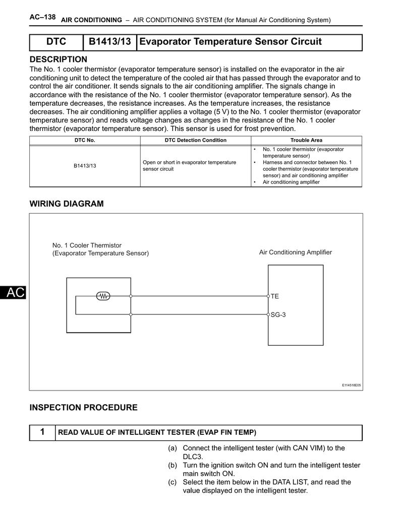 DTC B1413/13 Evaporator Temperature Sensor Circuit | manualzz com