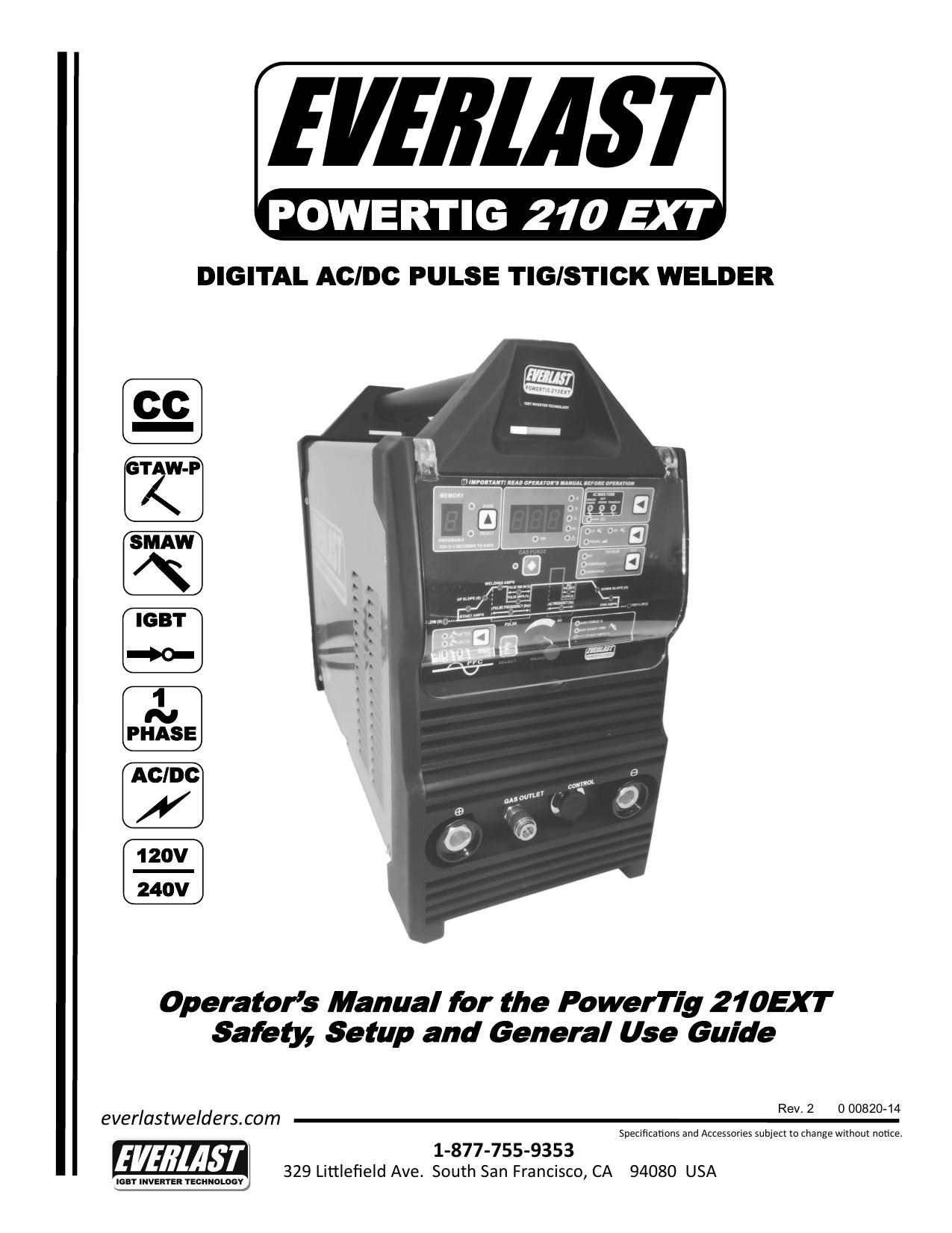 ongelooflijke prijzen top mode online te koop POWERTIG 210 EXT - Everlast Welders   manualzz.com