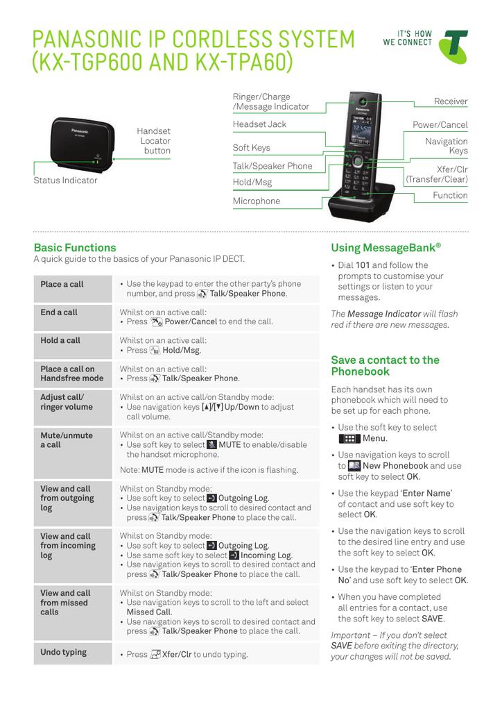Panasonic Phone Number >> Panasonic Ip Cordless System Kx Tgp600 And Kx Tpa60 Manualzz Com