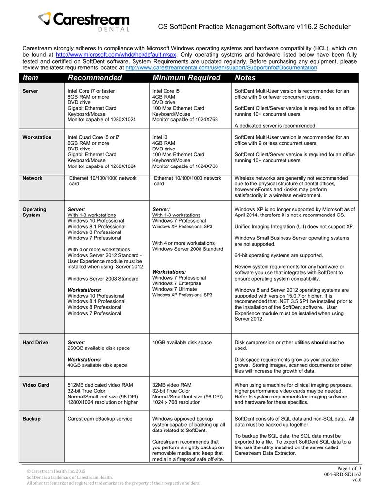 CS SoftDent System Requirements (Scheduler | manualzz com