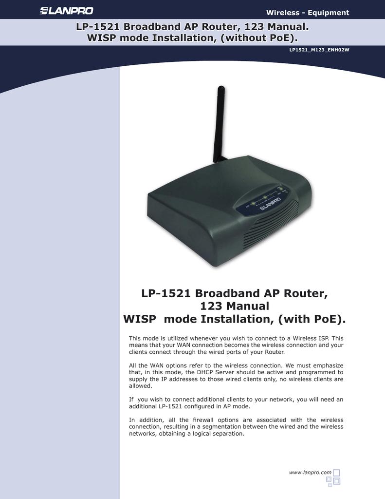LP-1521 Broadband AP Router, 123 Manual WISP mode   manualzz com