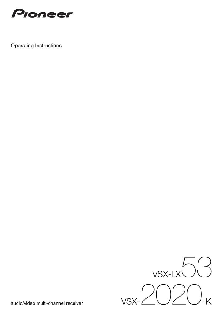 VSX-LX53 VSX-2020-K | manualzz com