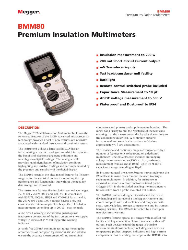BMM80 Premium Insulation Multimeters - Electro   manualzz com