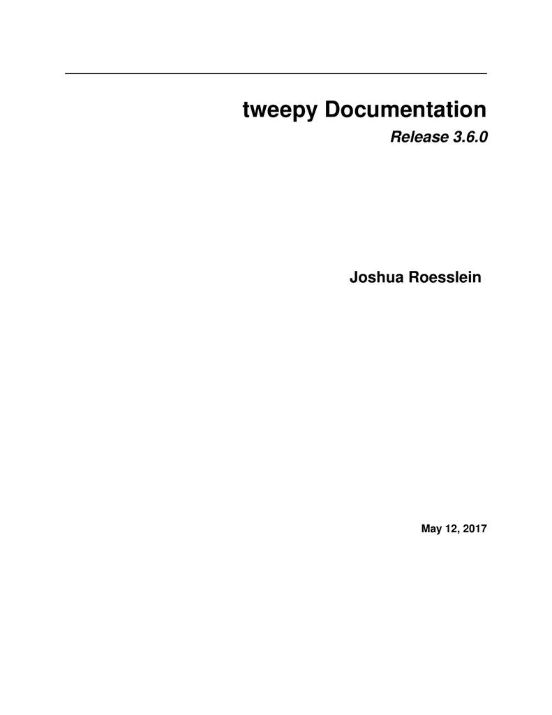 tweepy Documentation   manualzz com
