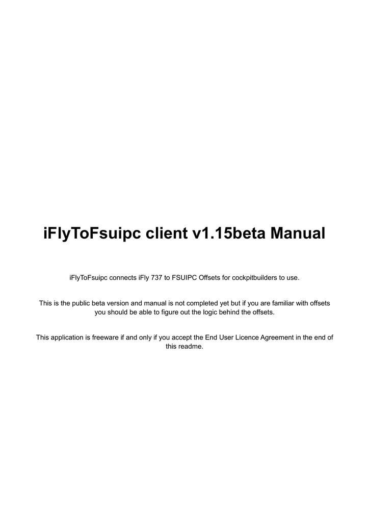 iFlyToFsuipc client v1 15beta Manual | manualzz com