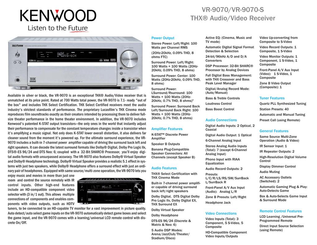 VR-9070/VR-9070-S THX® Audio/Video Receiver | manualzz com