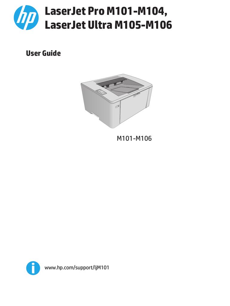 HP LaserJet Pro M101-M104, HP LaserJet Ultra M105-M106 | manualzz com