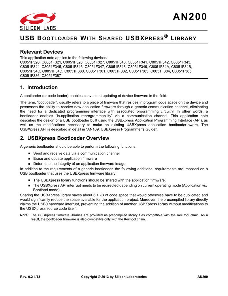 AN200: USB Bootloader with Shared USBXpress | manualzz com