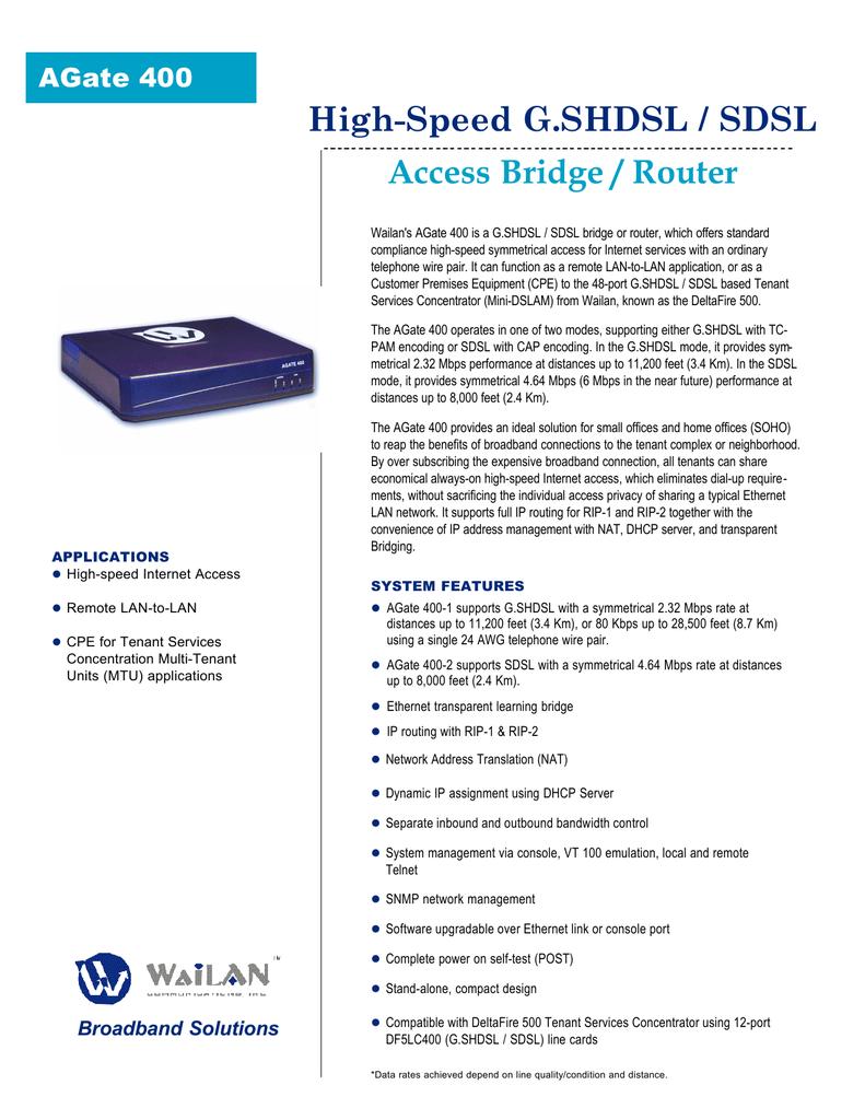 High-Speed G.SHDSL / SDSL Access Bridge / Router | Manualzz