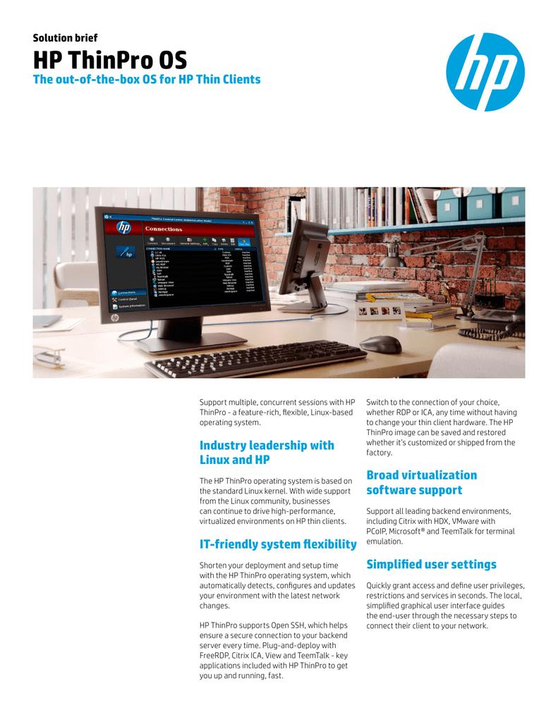 HP ThinPro OS - Product documentation   manualzz com