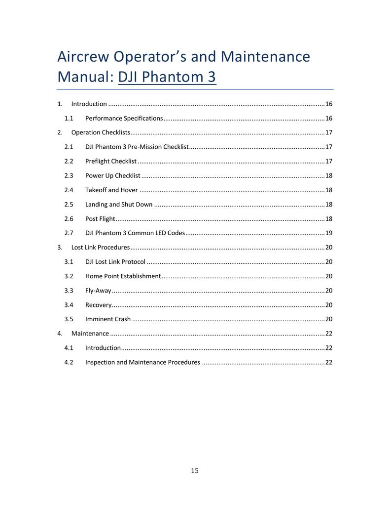 Aircrew Operator`s and Maintenance Manual: DJI Phantom 3