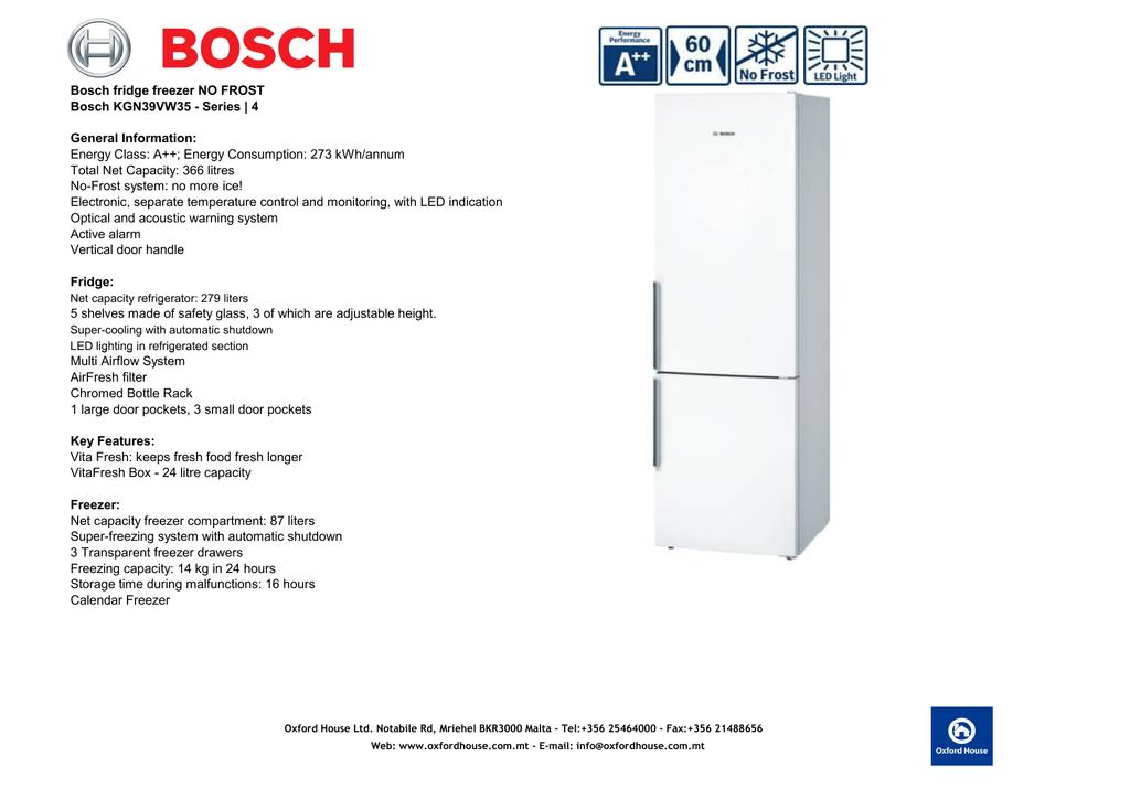 Bosch Fridge Freezer No Frost Bosch Kgn39vw35 Manualzz