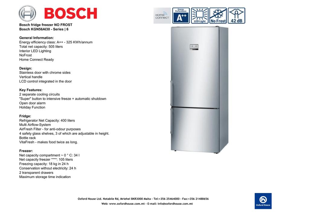 Bosch Fridge Freezer No Frost Bosch Kgn56ai30 Manualzz