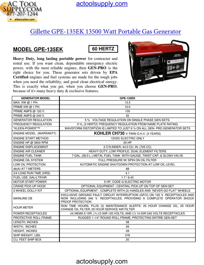Gillette GPE-135EK 13500 Watt Portable Gas Generator | manualzz com