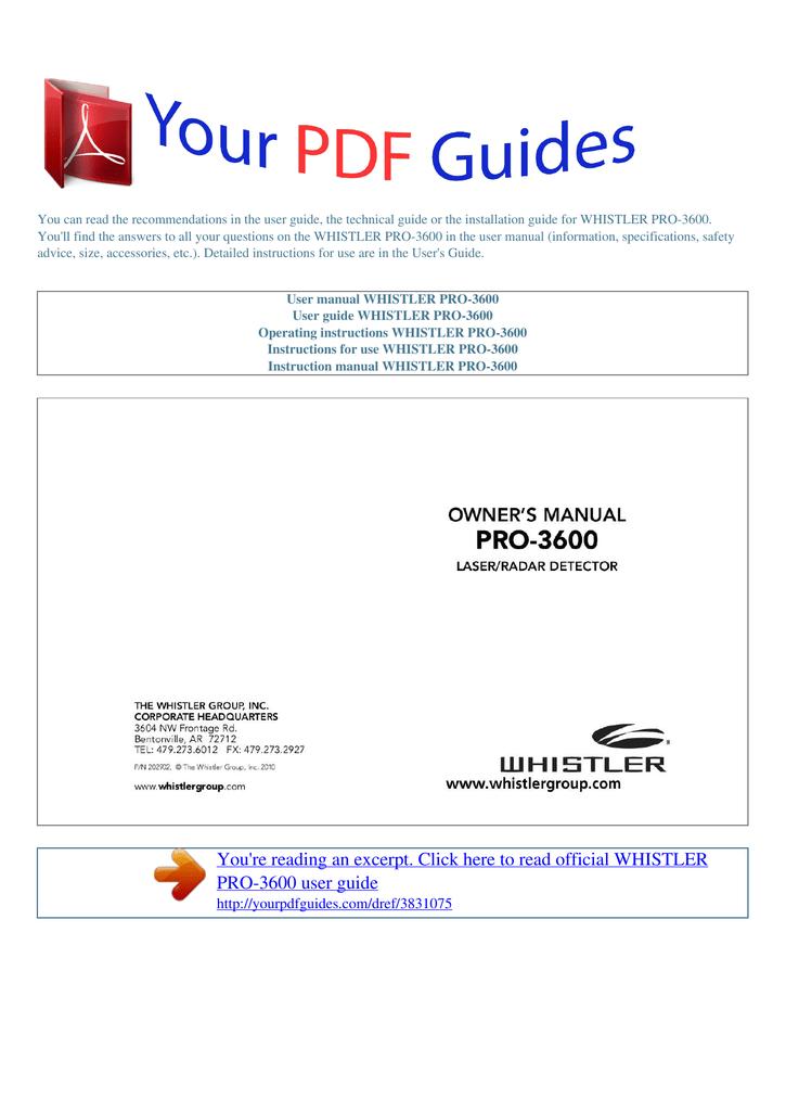 Operating instructions WHISTLER PRO-3600 | manualzz com