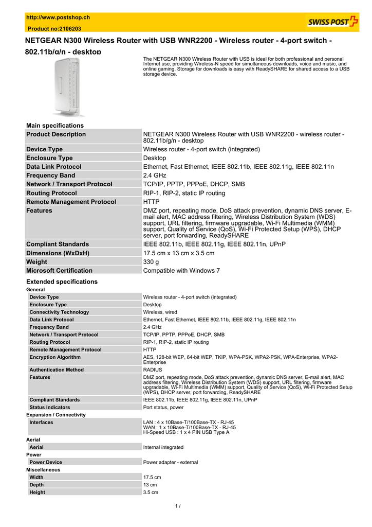 NETGEAR N300 Wireless Router with USB WNR2200 | manualzz com