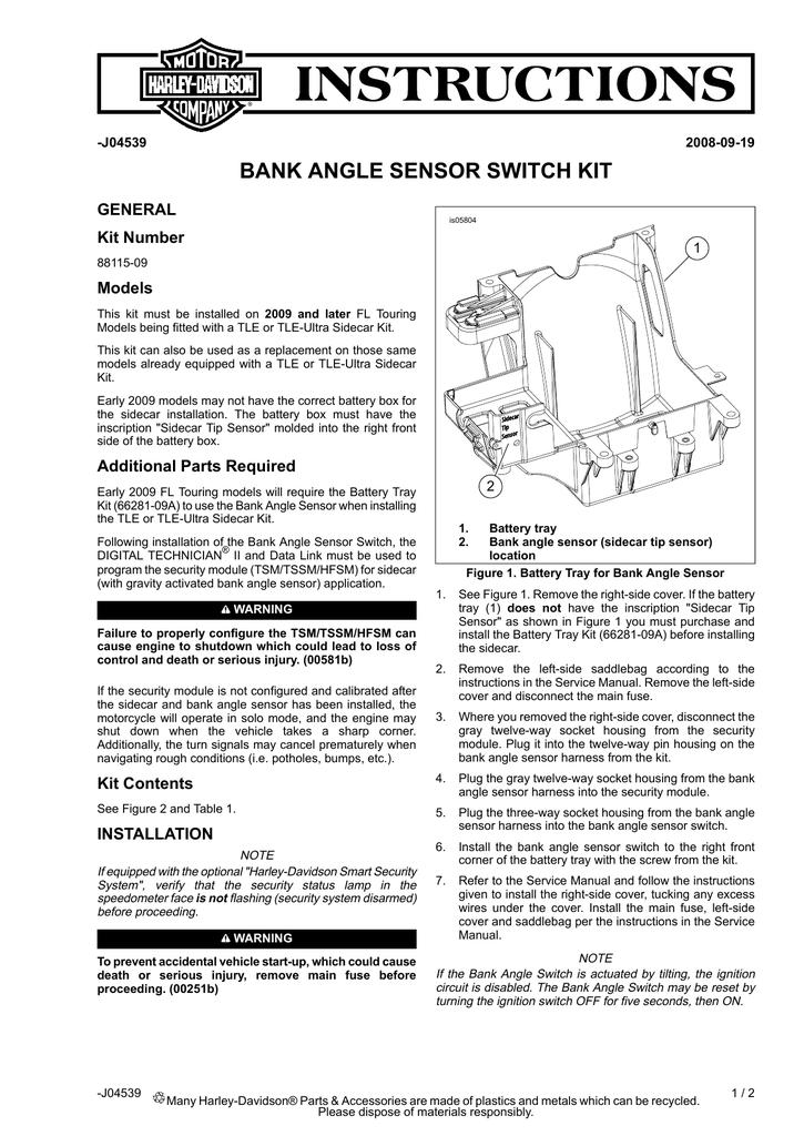 bank angle sensor switch kit - Harley   manualzz com