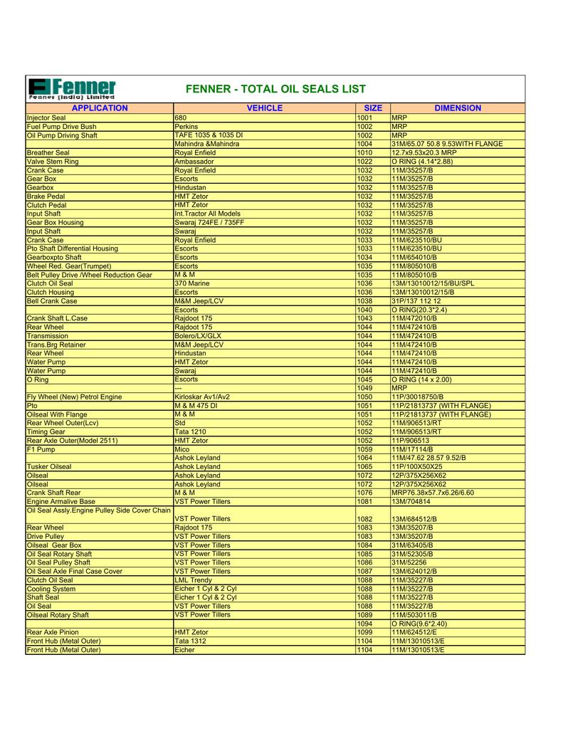 total oil seals list | manualzz com