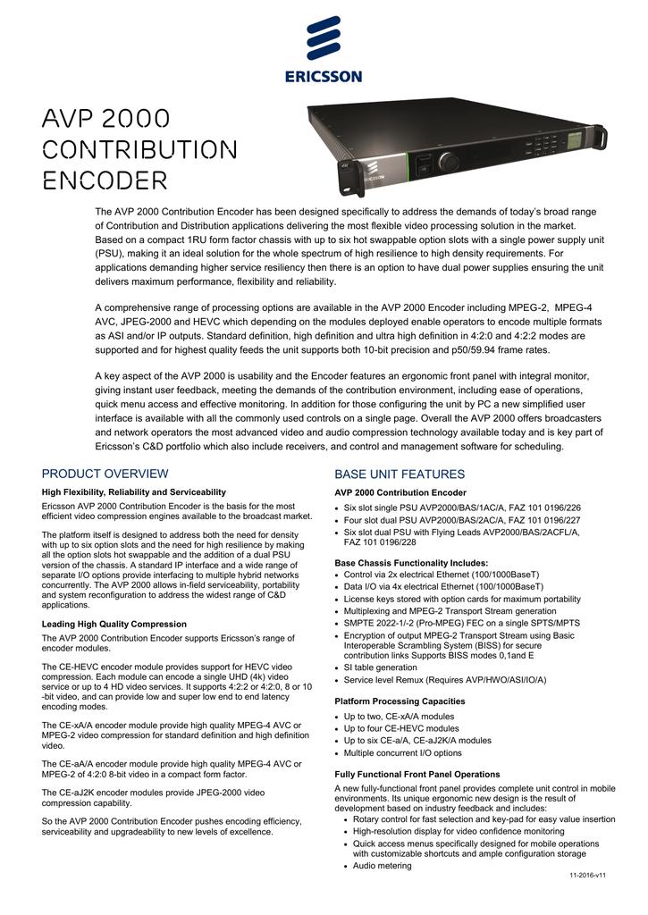 AVP 2000 Contribution Encoder | manualzz com