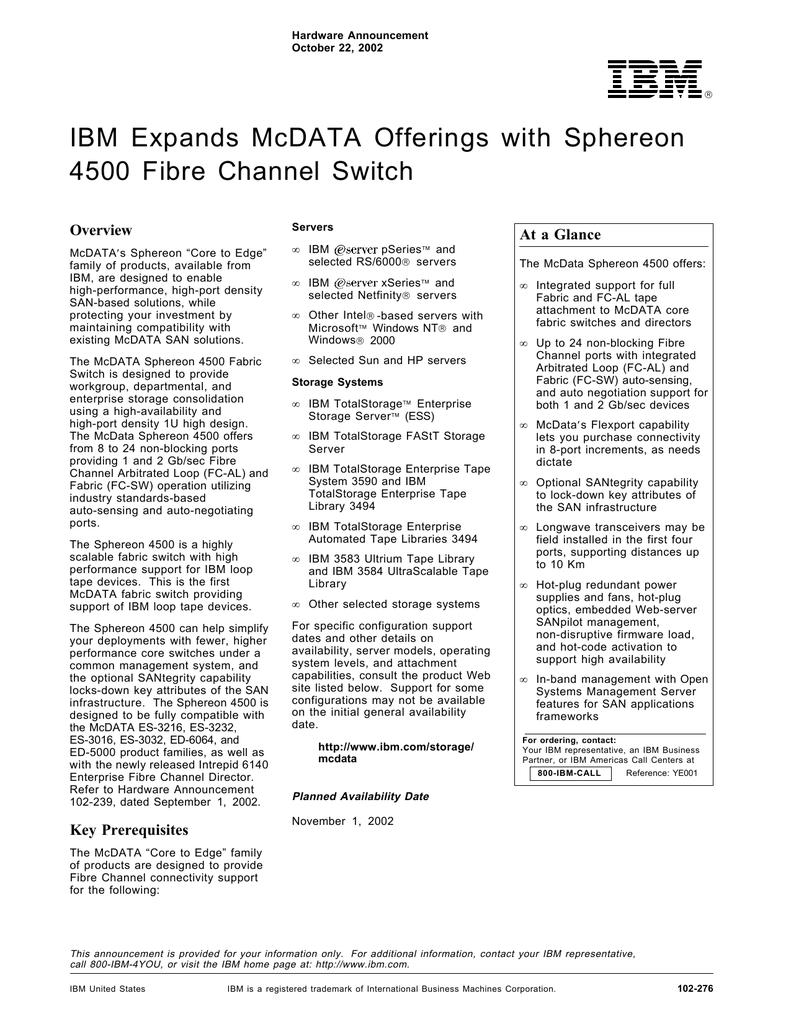 mcdata sphereon 4500 firmware