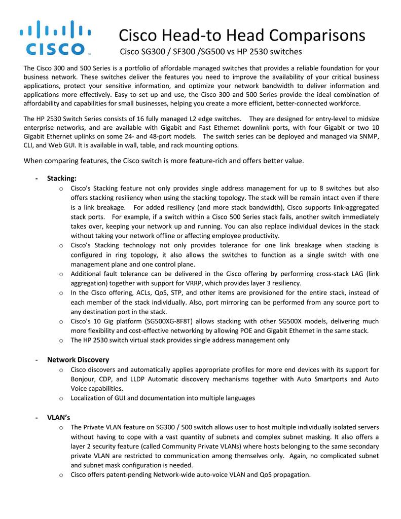 Cisco Head-to Head Comparisons | manualzz com