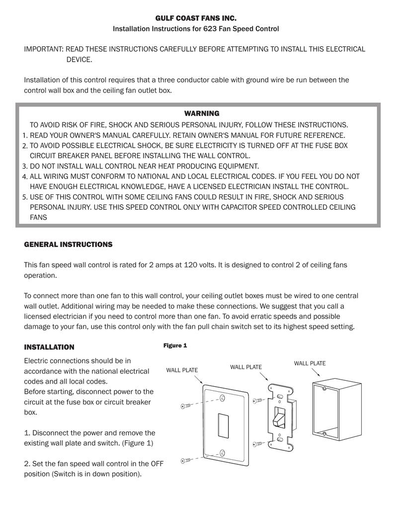 GULF COAST FANS INC  Installation Instructions for 623 Fan Speed