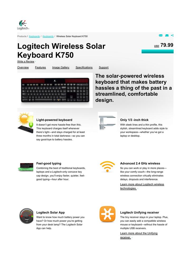 Logitech Wireless Solar Keyboard K750 | manualzz com