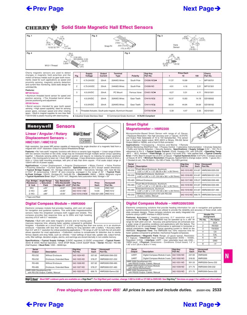SENSOR 24V Part # CHERRY GS101201 SPEED GEAR TOOTH