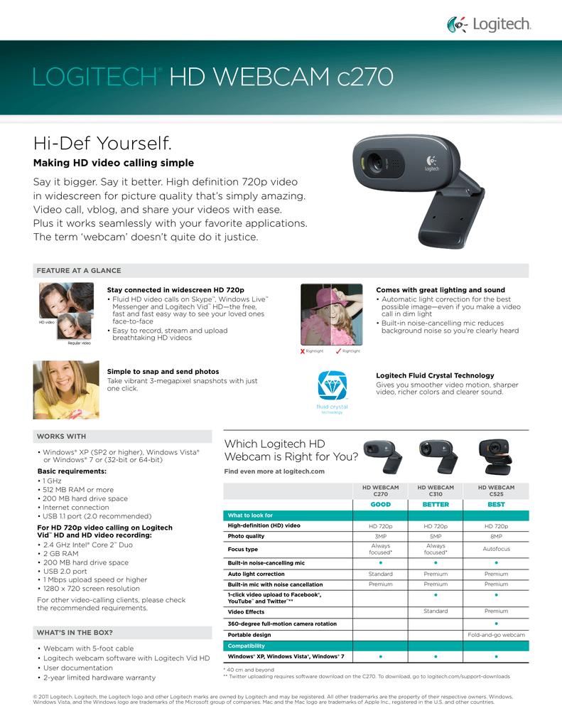 LOGITECH® HD WEBCAM c270 | manualzz com