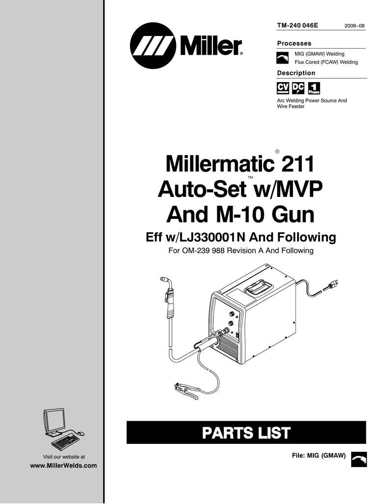 Millermatic 211 Wiring Schematic Diagram Libraries Miller Mig Welder Wire Setup Auto Set W Mvp And M 10 Gun Manualzz Commillermatic