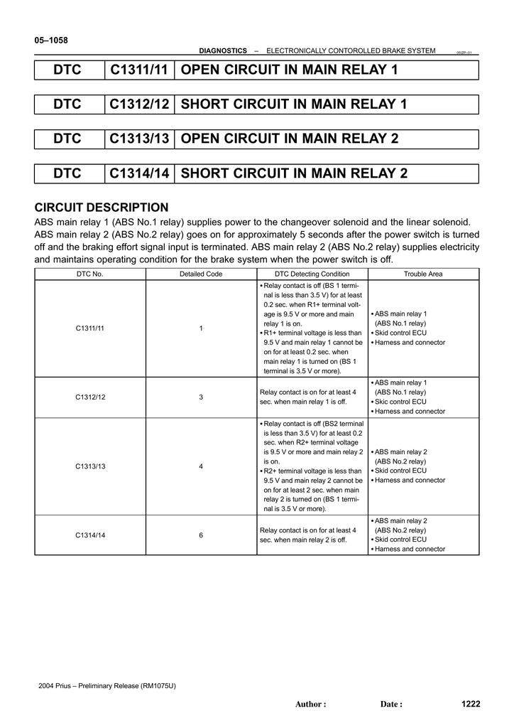 DTC C1311/11 OPEN CIRCUIT IN MAIN RELAY 1 DTC C1312/12