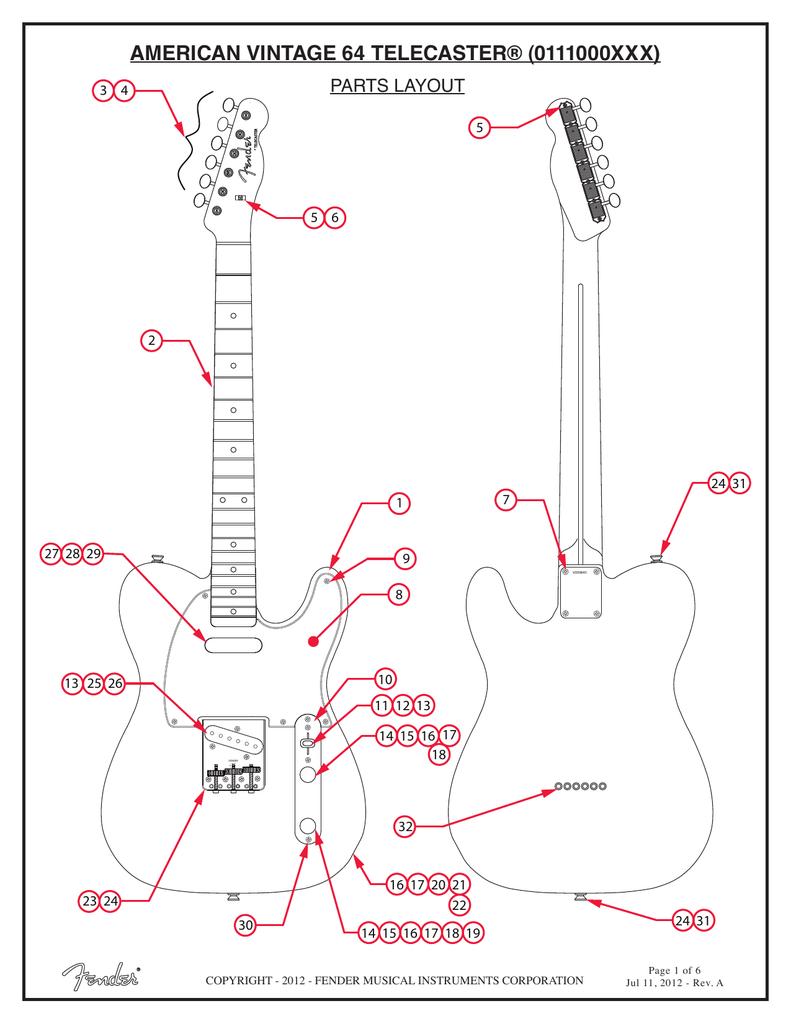American Vintage 64 Telecaster 0111000xxx Wiring Diagram