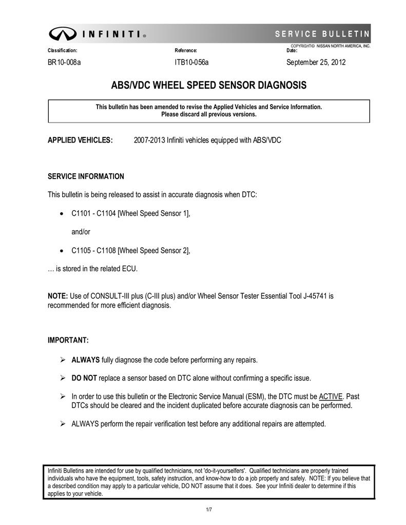 Infiniti Service Bulletin | manualzz com