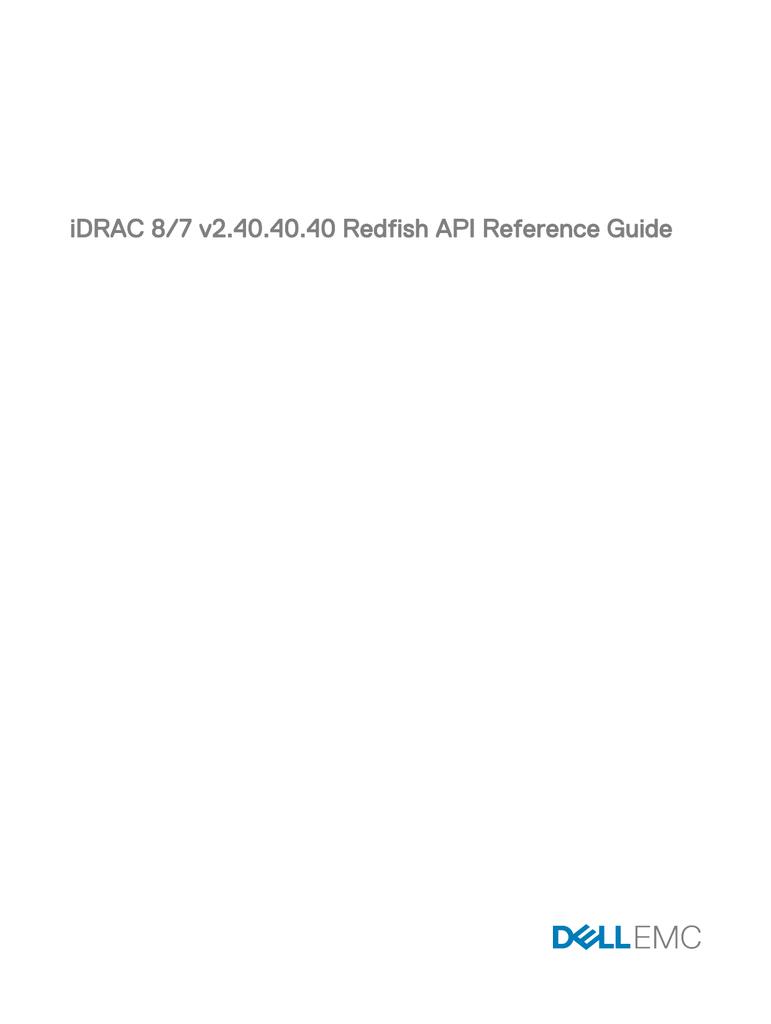 iDRAC 8/7 v2 40 40 40 Redfish API Reference Guide | manualzz com