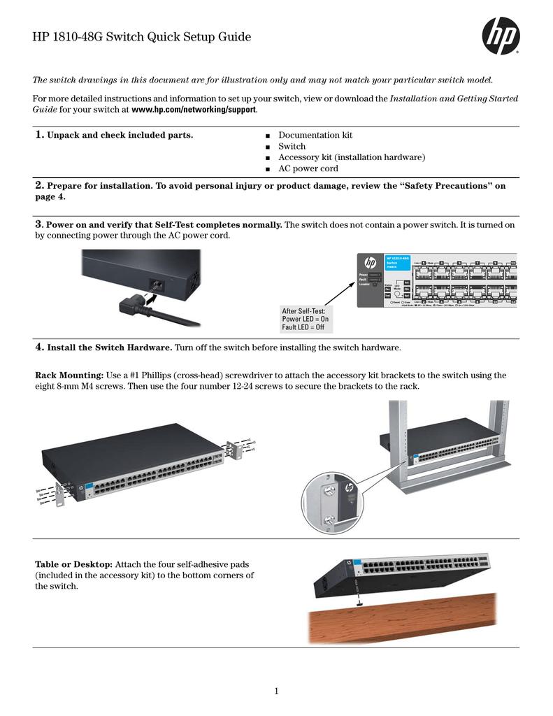 Hp 1810 48g Switch Quick Setup Guide Manualzz