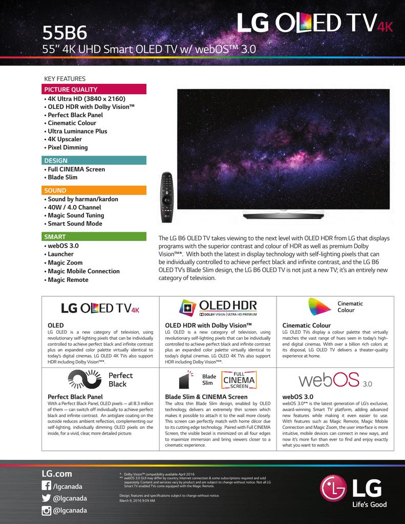 "55B6 55"" 4K UHD Smart OLED TV w/ webOS™ 3 0   manualzz com"