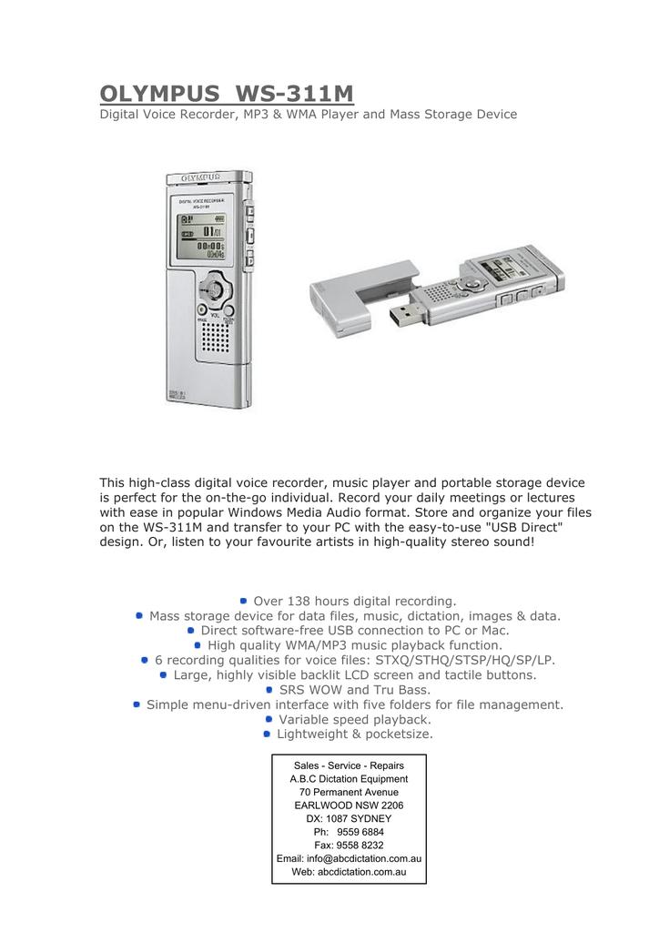 OLYMPUS WS-311M - ABC DICTATION EQUIPMENT | manualzz com