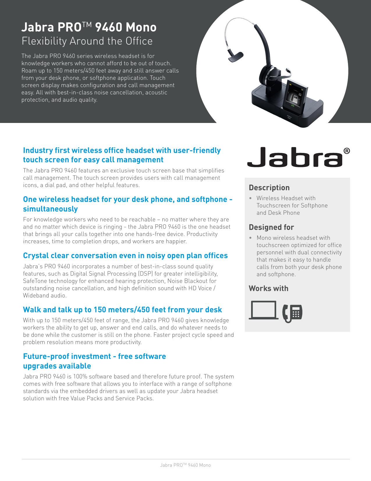Jabra PROTM 9460 Mono | manualzz com