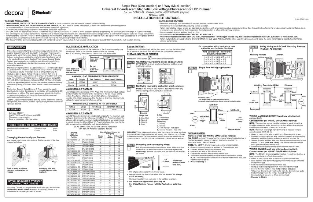 [SCHEMATICS_43NM]  Leviton DD00R-DLZ Decora Dimmer Installation | Manualzz | Leviton Dimmer Switch Wiring Diagram |  | manualzz