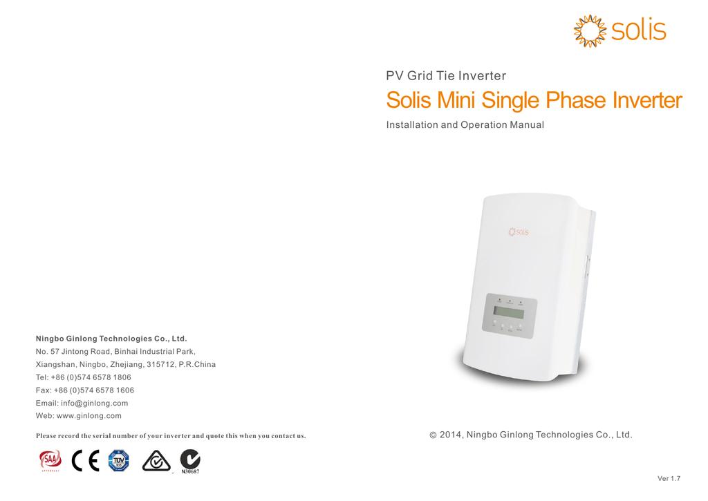 Solis Mini Single Phase Inverter | manualzz com