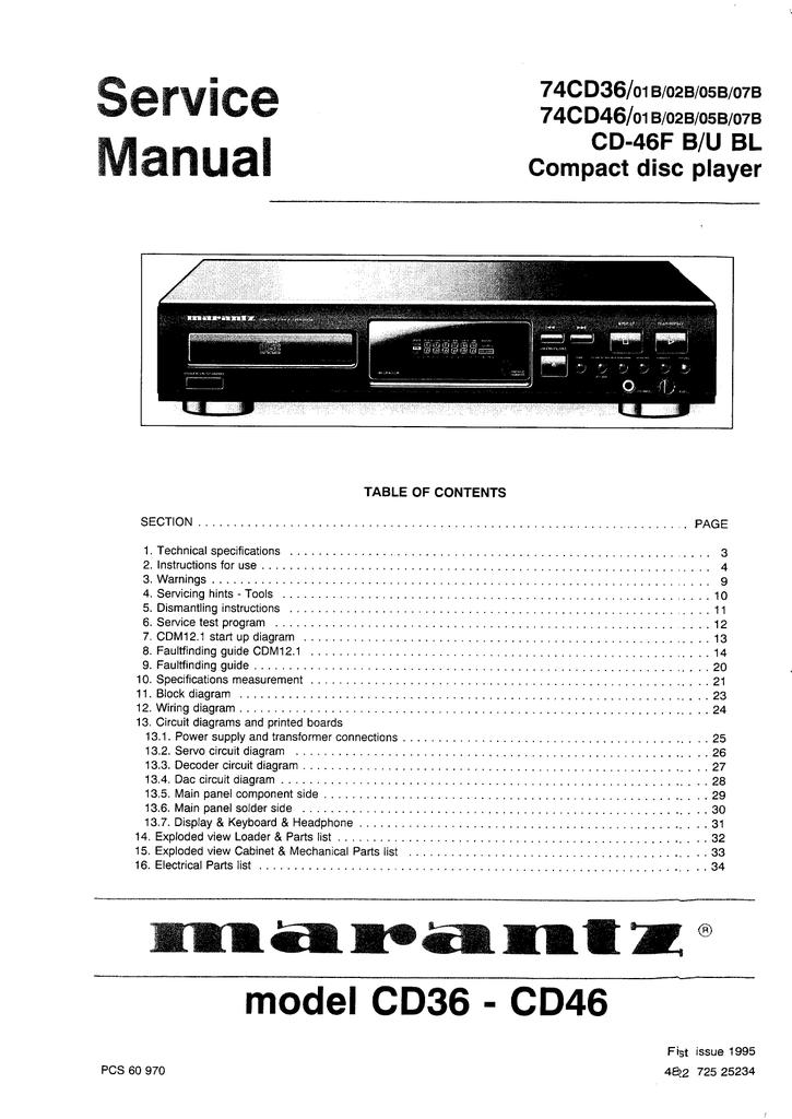 Marantz Cd 36 Service Manual Manualzz