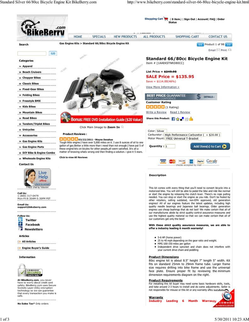 Standard Silver 66/80cc Bicycle Engine Kit BikeBerry com