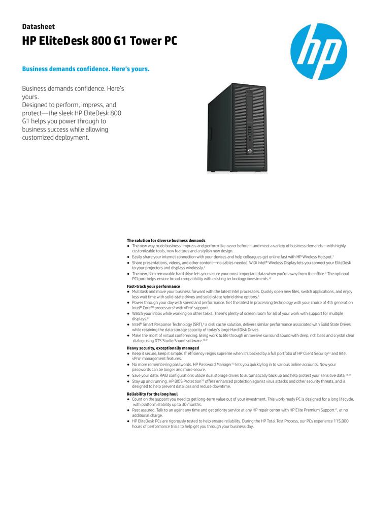 HP EliteDesk 800 G1 Tower PC Datasheet   manualzz com