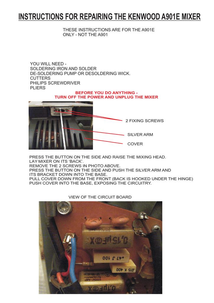 A901E Repair Instructions | manualzz com