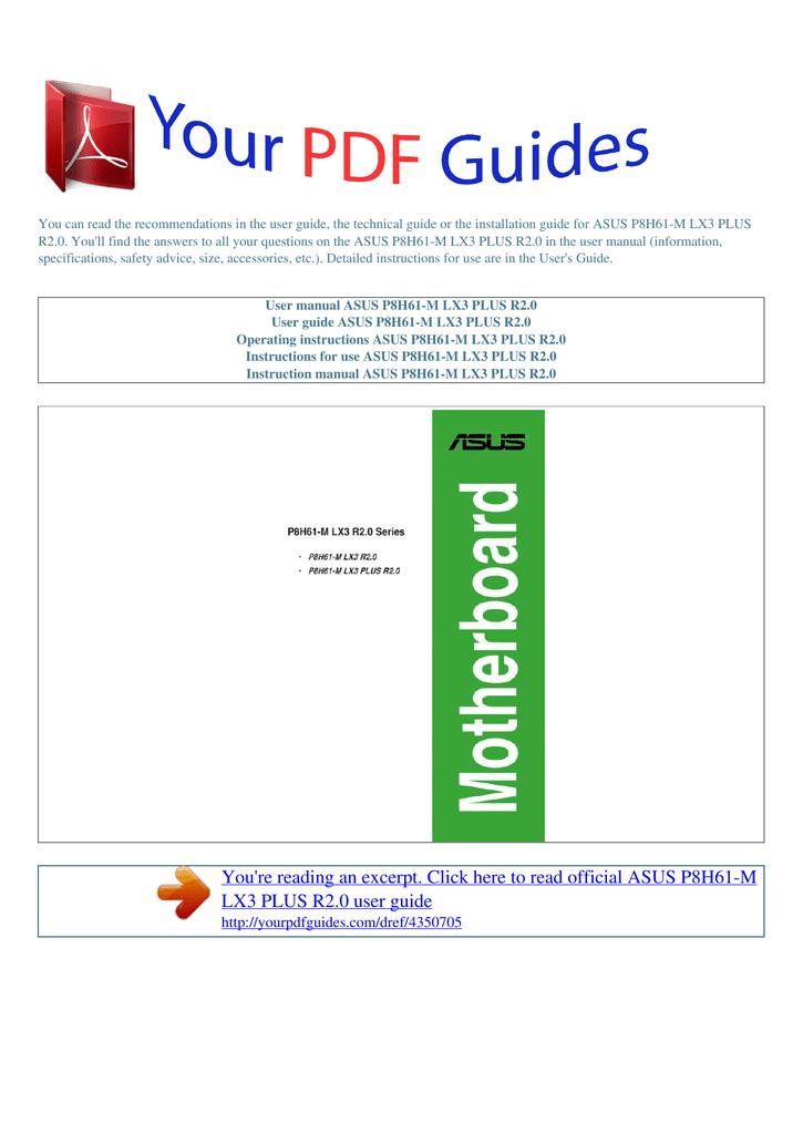 Operating instructions ASUS P8H61 | manualzz com