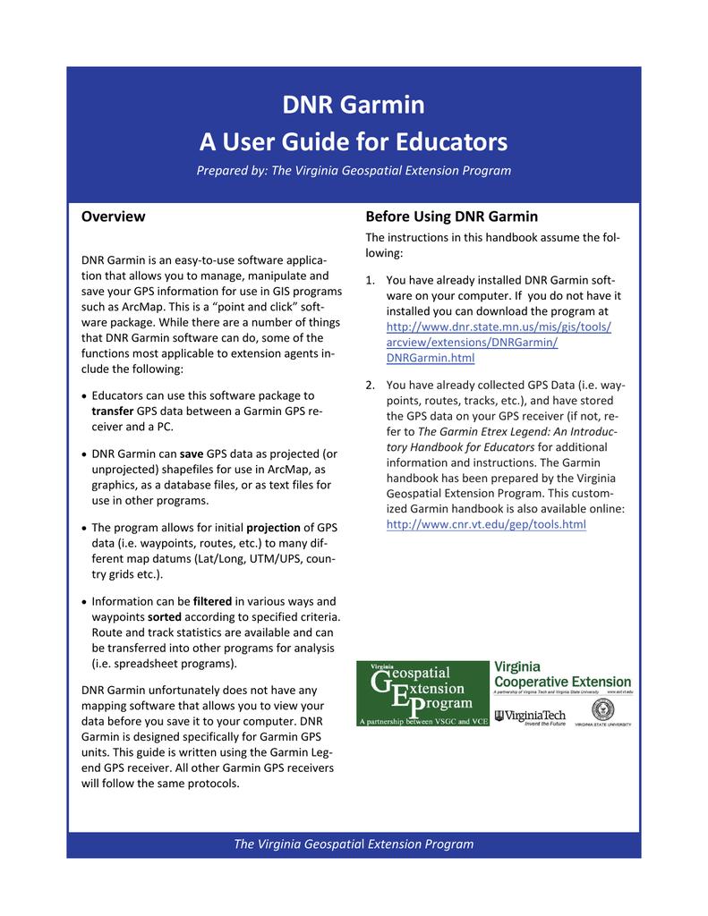 DNR Garmin A User Guide for Educators | manualzz com