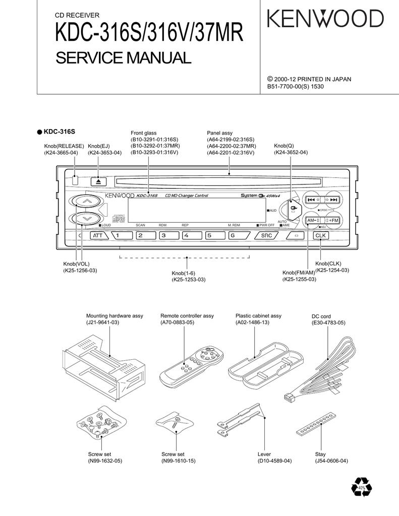 [SCHEMATICS_4LK]  Kenwood-KDC-37-MR-Service-Manual | Manualzz | Kenwood Kdc 316s Wiring Diagram |  | manualzz