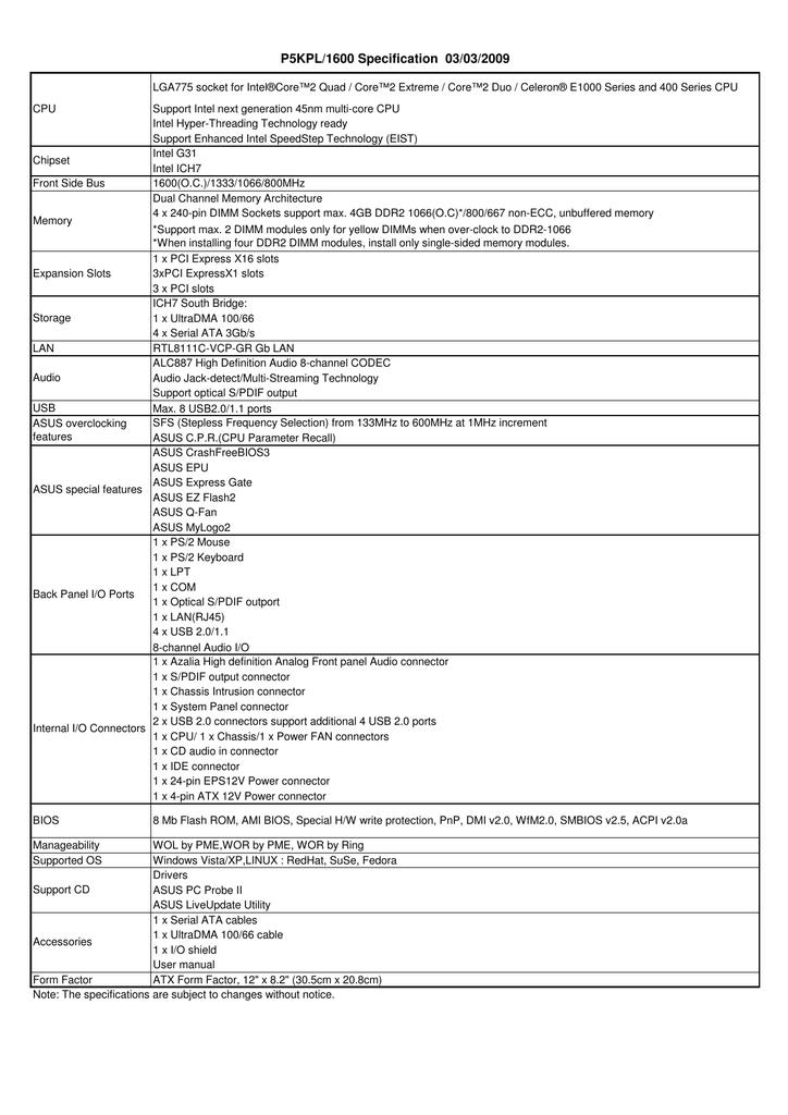 P5kpl/1600 manual | motherboards | asus global.