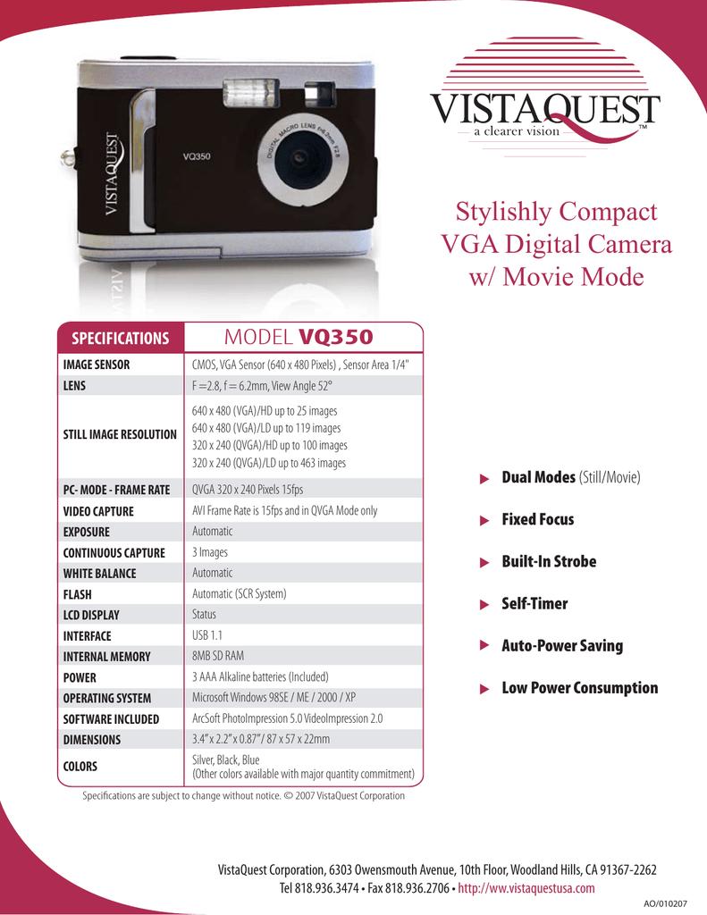 Stylishly Compact VGA Digital Camera w/ Movie Mode